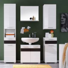 Mezzo Bathroom Set In White With High Gloss And Melinga Dark Oak
