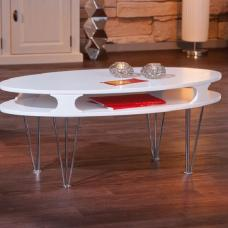 Minuto Matt White Finish Coffee Table With Chrome Metal Legs