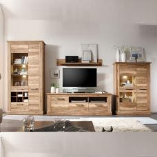 Montreal Living Room Furniture Set 2 In Walnut Satin With LED