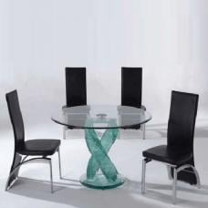 Monaco 4 Seater Dining Set In Clear Glass With Oslo Black Chairs
