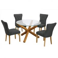 Optro Round Glass Dining Table And 4 Naples Grey Dining Chairs