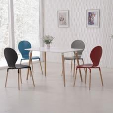Napoli Dining Table In White Top And 4 Dining Chairs
