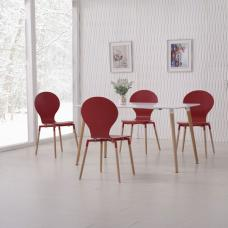Napoli Dining Table In White Top And 6 Red Dining Chairs