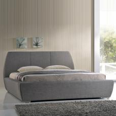 Naxos Stylish Double Bed In Grey Fabric With Chrome Feet
