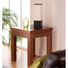 Nevada Lamp Table In Walnut With Black Glass Inserts