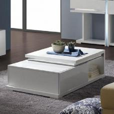 Nicoli Coffee Table In White High Gloss With 1 Drawer