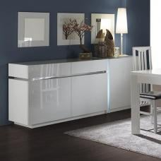 Nicoli Modern Sideboard In White Gloss With 3 Door And 2 Drawers