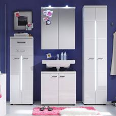 Nightlife Bathroom Set In White With High Gloss And Lighting