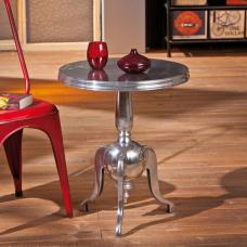 Nime Shiny Silver Finish Round Shaped Side Table