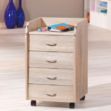 Novi Sonoma Oak Finish 4 Drawers Office Container With Rollers