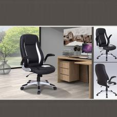 Modern Home Office Chair In Black And White Faux Leather