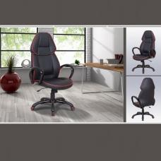 Steffeny Modern Home Office Chair In Black Faux Leather