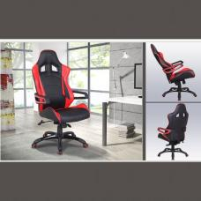 Sonata Modern Home Office Chair In Black And Red Faux Leather