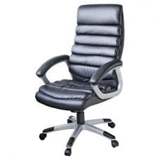 Lex Padded Office Chair In Black Faux Leather With Wheels