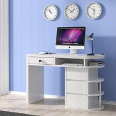 Miami Computer Desk In White High Gloss With 4 Drawers