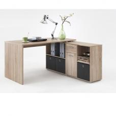 Flexi Wooden Corner Computer Desk In Canadian Oak