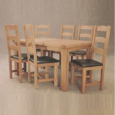 Oak Dining Table with 6 Dining Chairs