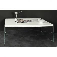 Olymp High Gloss Coffee Table In White With Glass Legs