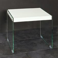Olymp High Gloss Top Side Table With Glass Legs