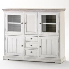 Opal Highboard In White Pine With Glass Doors