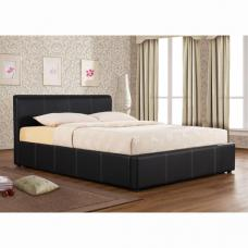 Ottoman Black Faux Leather Bed