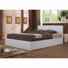Ottoman White Faux Leather Bed