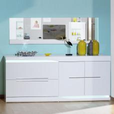 Merida Sideboard In White Lacquer With 2 Doors And LED Lighting