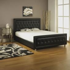 Palmira King Size Bed In Black Faux Leather With Diamantes