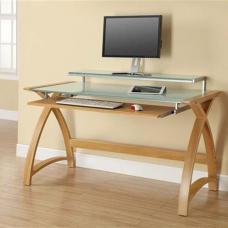 Cohen Curve Computer Desk Large In White Glass Top And Oak