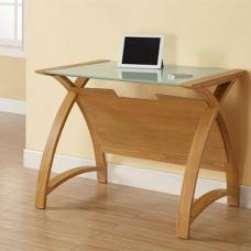 Cohen Curve Laptop Table Small In Milk White Glass Top And Oak