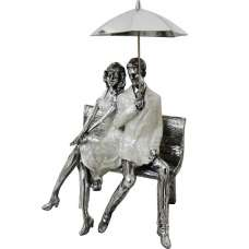Man And Woman With Umbrella Sculpture