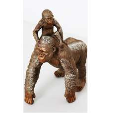 Great Ape Adult And Child Standing Sculpture
