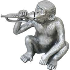 Monkey With Trumpet Sculpture In Silver Finish
