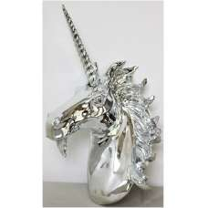 Unicorn Wall Mounted Sculpture In Silver Finish