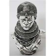 Tribal Lady Bust With Headband Sculpture
