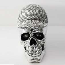 Electroplated Skull With Hat Sculpture In Silver Finish