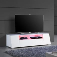 Elton LCD TV Stand In White High Gloss With LED Lights