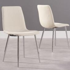 Hemlock Cream Fabric Dining Chair With Chrome Base In A Pair