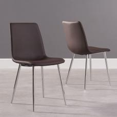 Hemlock Brown Faux Leather Dining Chair In A Pair