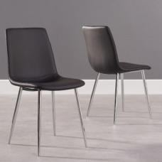 Hemlock Black Faux Leather Dining Chair In A Pair