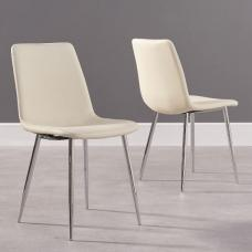 Hemlock Cream Faux Leather Dining Chair In A Pair