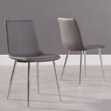 Hemlock Grey Faux Leather Dining Chair In A Pair
