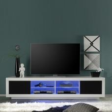 Wales Large LCD TV Stand In White Gloss Front And Black With LED