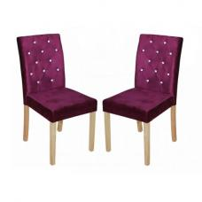 Kilcon Dining Chair In Purple Velvet And Diamante in A Pair
