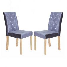 Kilcon Dining Chair In Silver Velvet And Diamante in A Pair