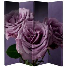 Plum Roses Room Divider With 4 Panel