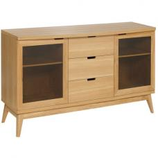 Patio Solid Oak Sideboard With 3 Drawer And 2 Glass Doors