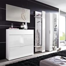 Primera Glass Front Hallway Furniture in White