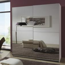 Quest Robe Sliding Wardrobe And Two Full Mirrors In White Wood