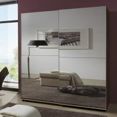 Quest Mirrored Sliding Wardrobe Small In Walnut With 2 Doors